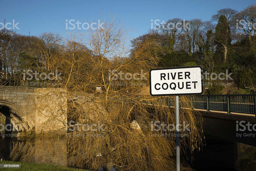 River Coquet Sign stock photo