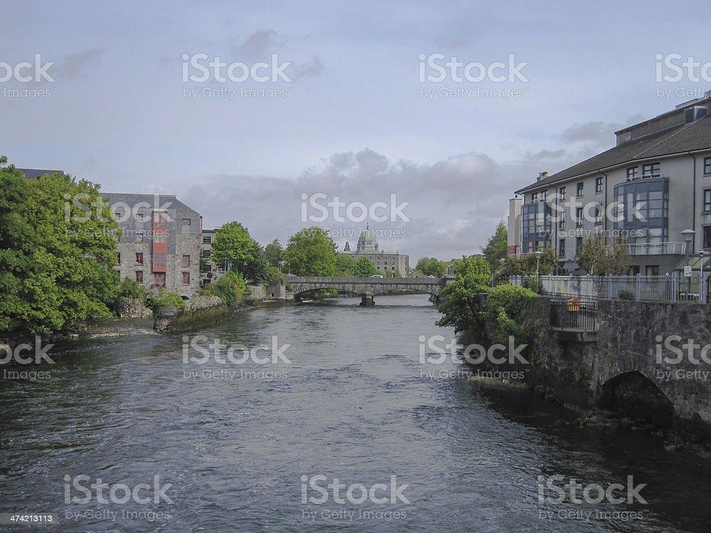 River Corrib and Cityscape stock photo