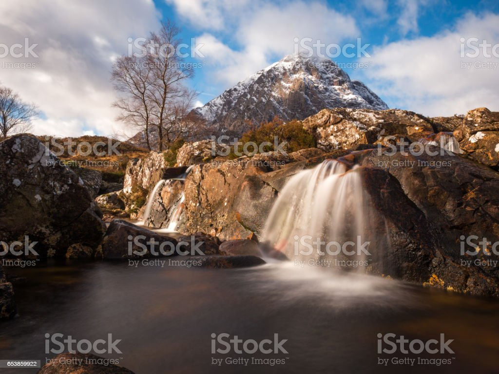 River Coupall and Buachaille Etive Mor. stock photo