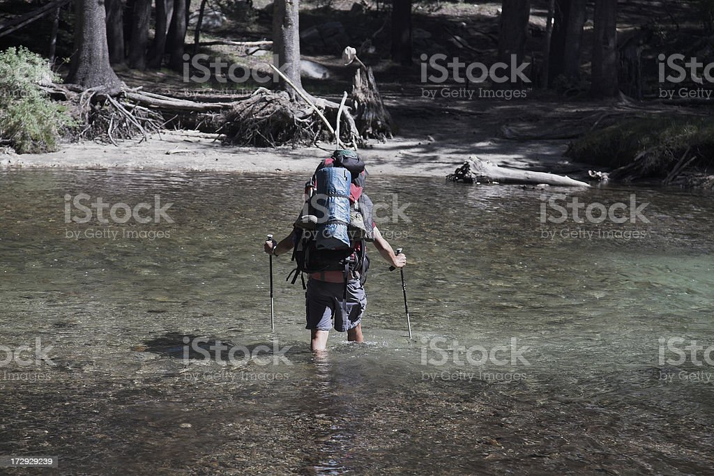 River Crossing Backpaking Hike Camping Wilderness stock photo