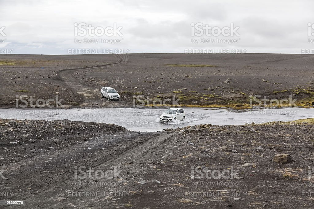 river crossing with four-wheel drive stock photo