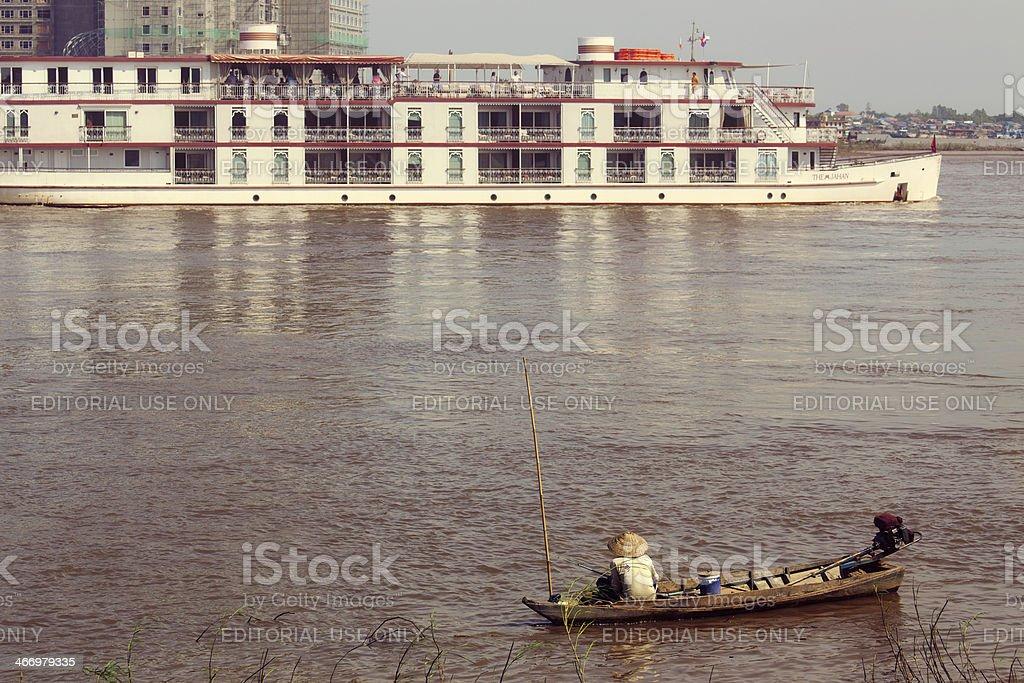 River cruise in Cambodia stock photo