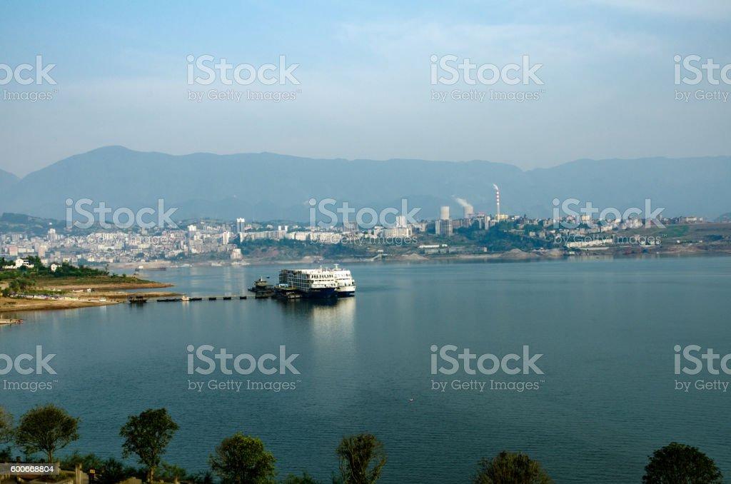 River Cruiseboat on the Yangtze River stock photo