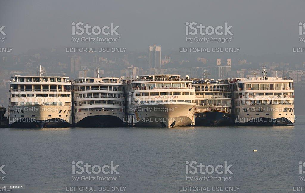 River Cruiseships at Shibaozhai stock photo