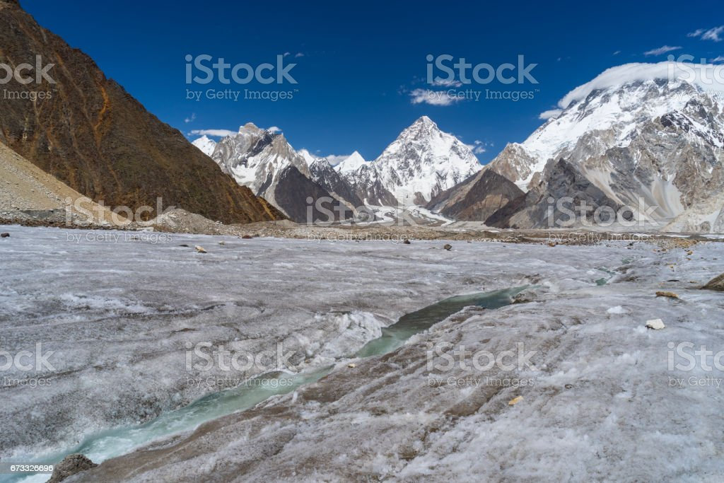 River curve of Vigne glacier in front of K2 and Broadpeak mountain, K2 trek, Pakistan stock photo