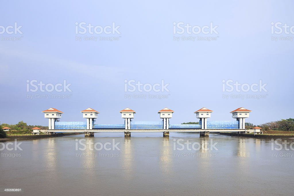 River dam for irrigation and flood control in Thailand royalty-free stock photo