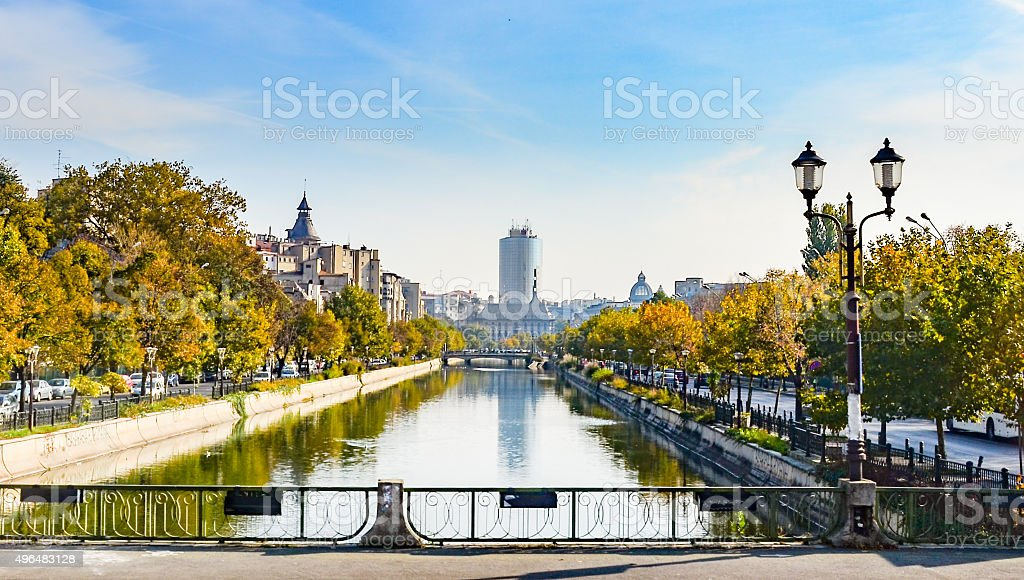 River Dambovita in Bucharest, Romania stock photo