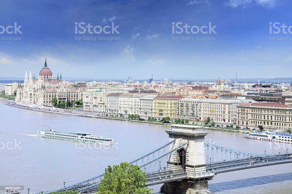 River Danube embankment in Budapest stock photo