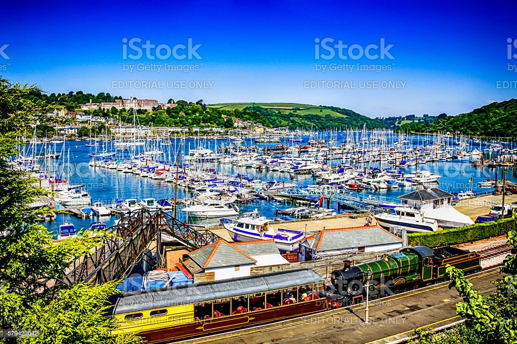 River Dart marina and steam railway at Kingswear, Devon, UK stock photo