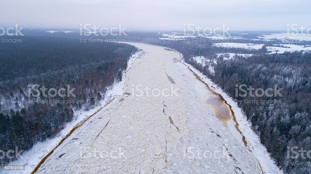 River Daugava in winter stock photo