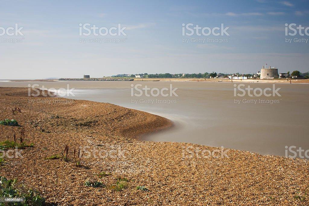 River Deben and beach at Bawdsey, Suffolk, UK stock photo