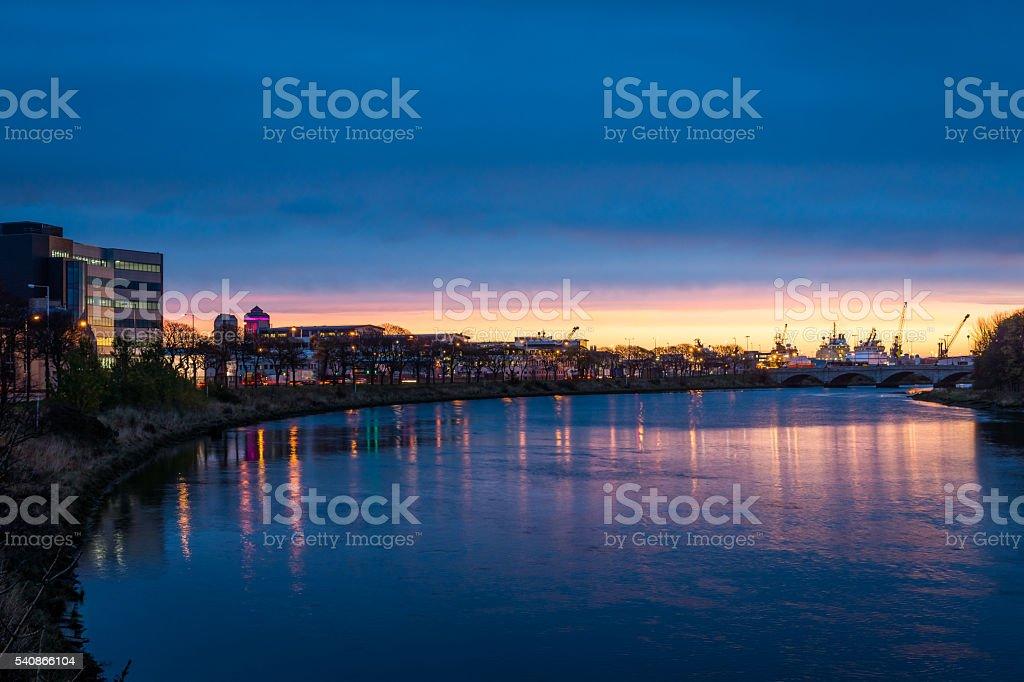 River Dee and Bridge stock photo
