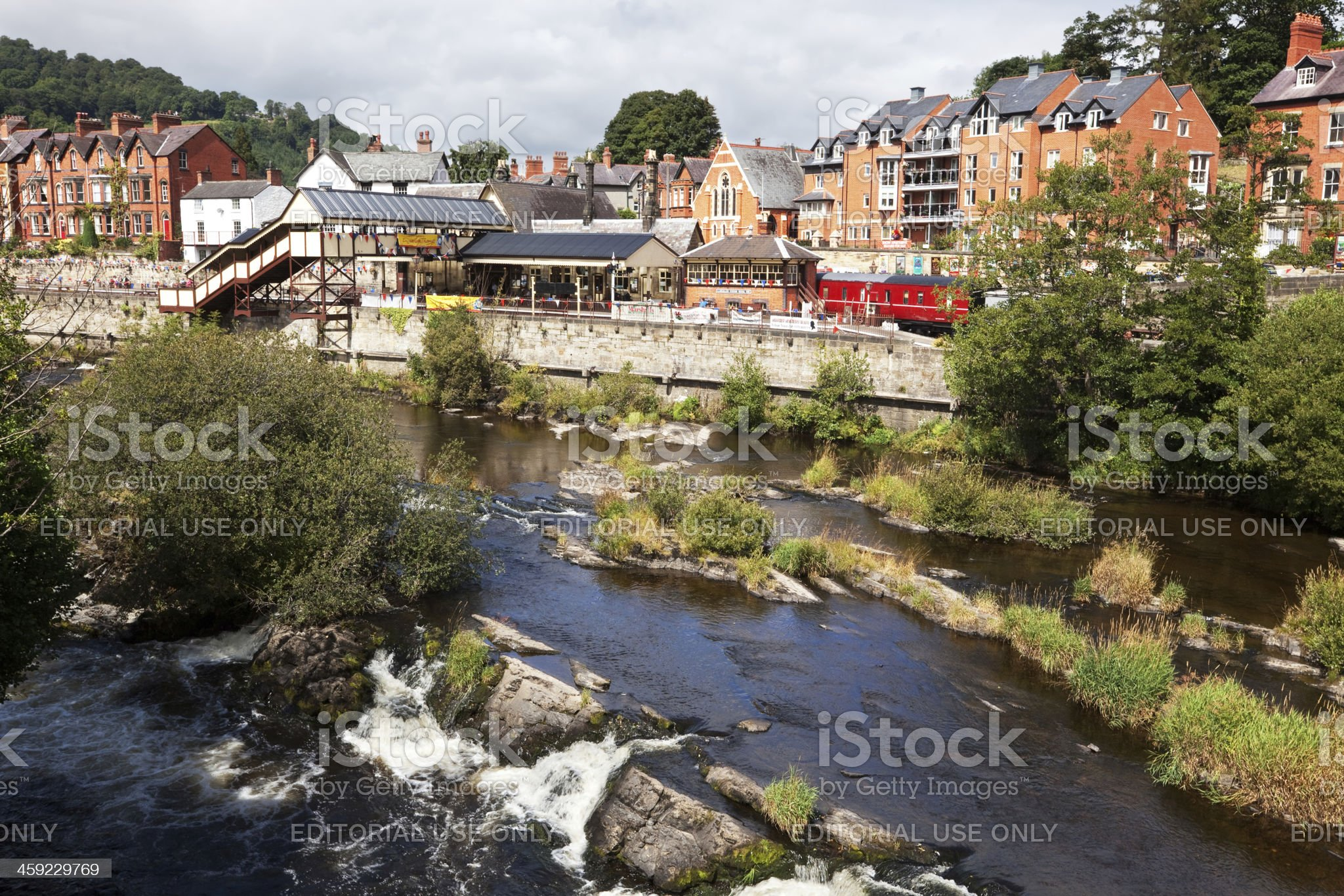 River Dee and Railway Station in Llangollen, Wales royalty-free stock photo
