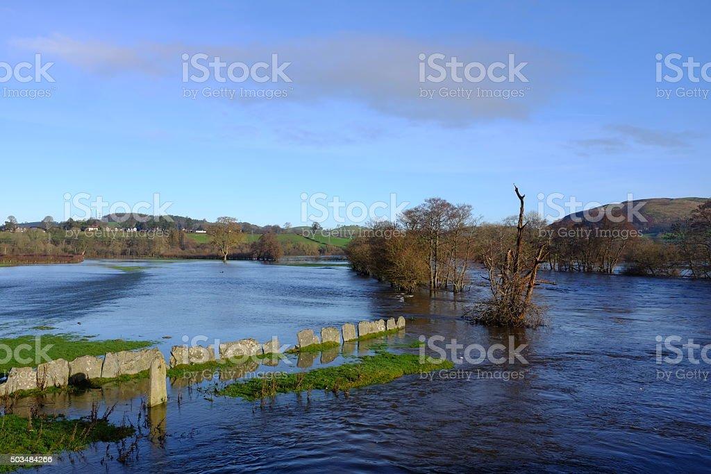 River Dee  bursting its banks at Corwen stock photo