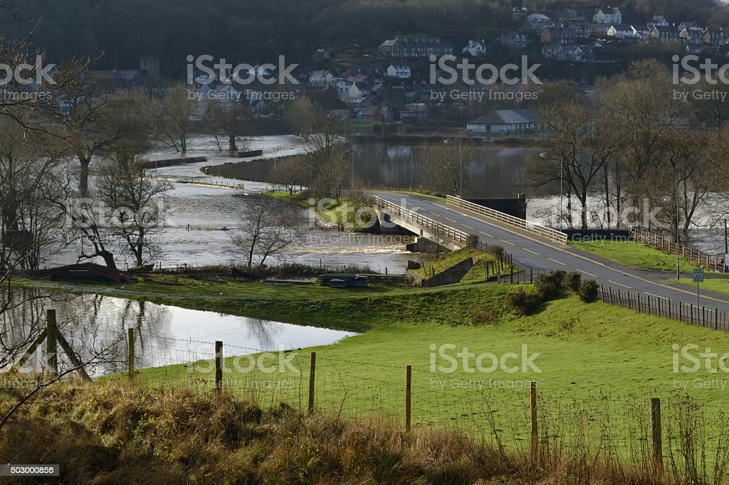River Dee flooding a road at Corwen stock photo