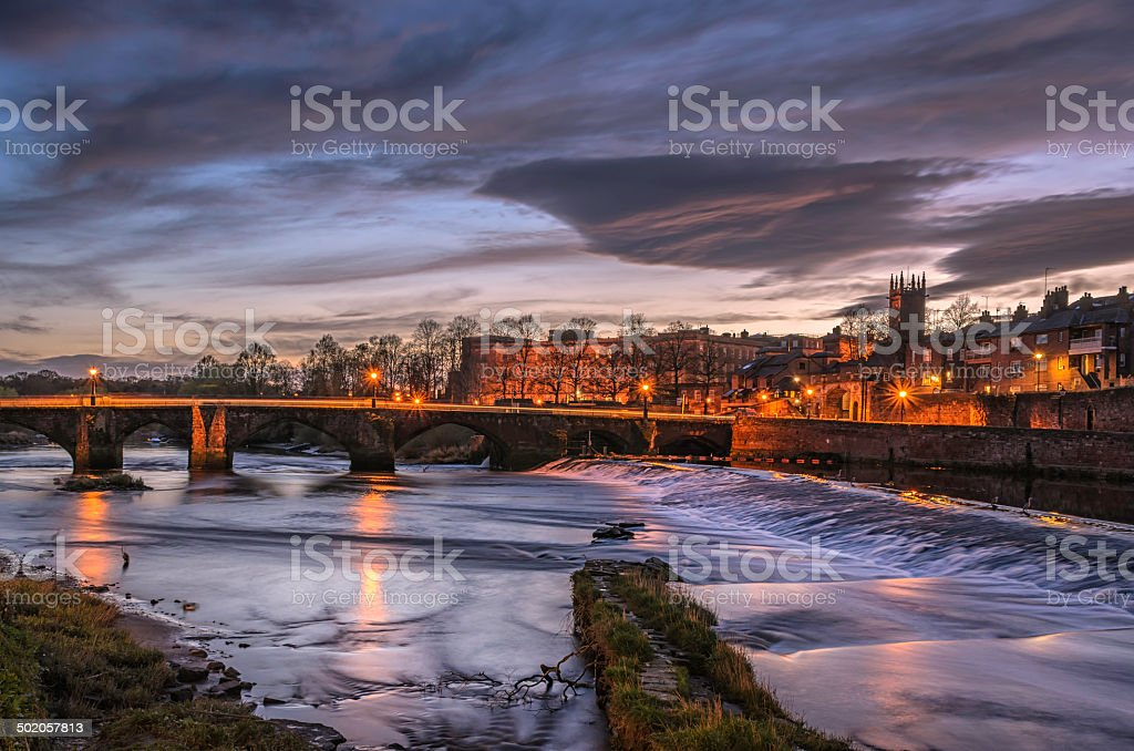 River Dee in Chester at Night stock photo