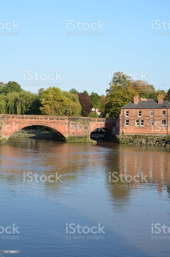 River Dee Roman Bridge at Sunset in Chester royalty-free stock photo