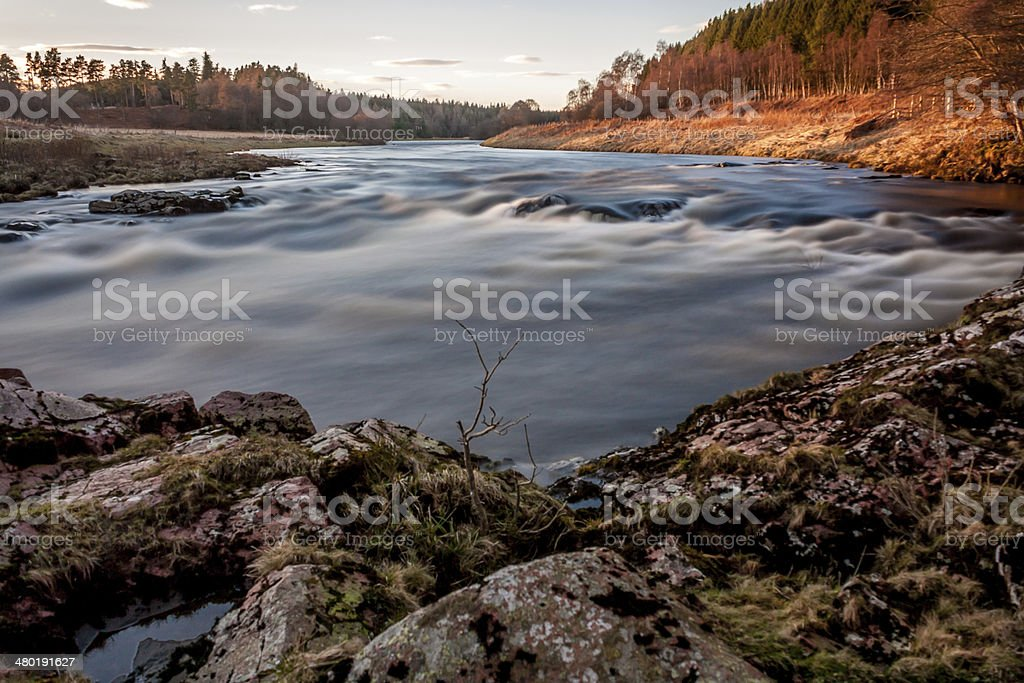 River Dee, Scotland Sunset Fishing royalty-free stock photo