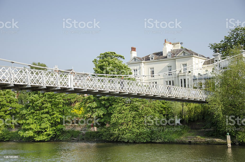 River Dee Suspension Bridge in Chester royalty-free stock photo