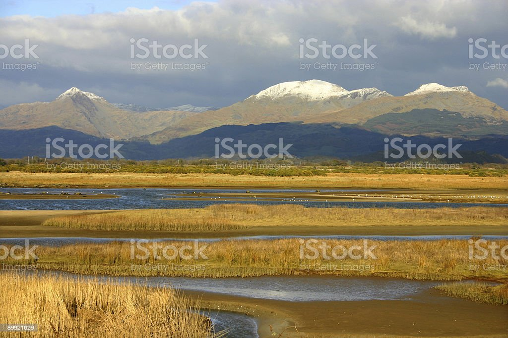 river delta around Snowdonia in Wales royalty-free stock photo