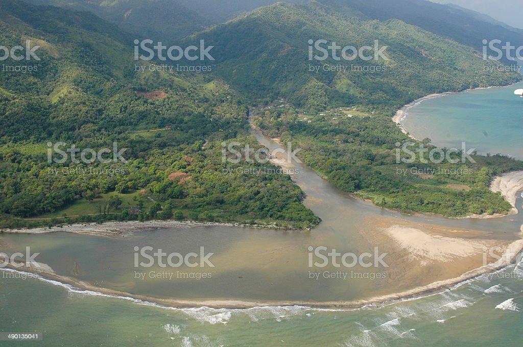 River Delta entering Caribbean Coast near Trujillo Honduras stock photo