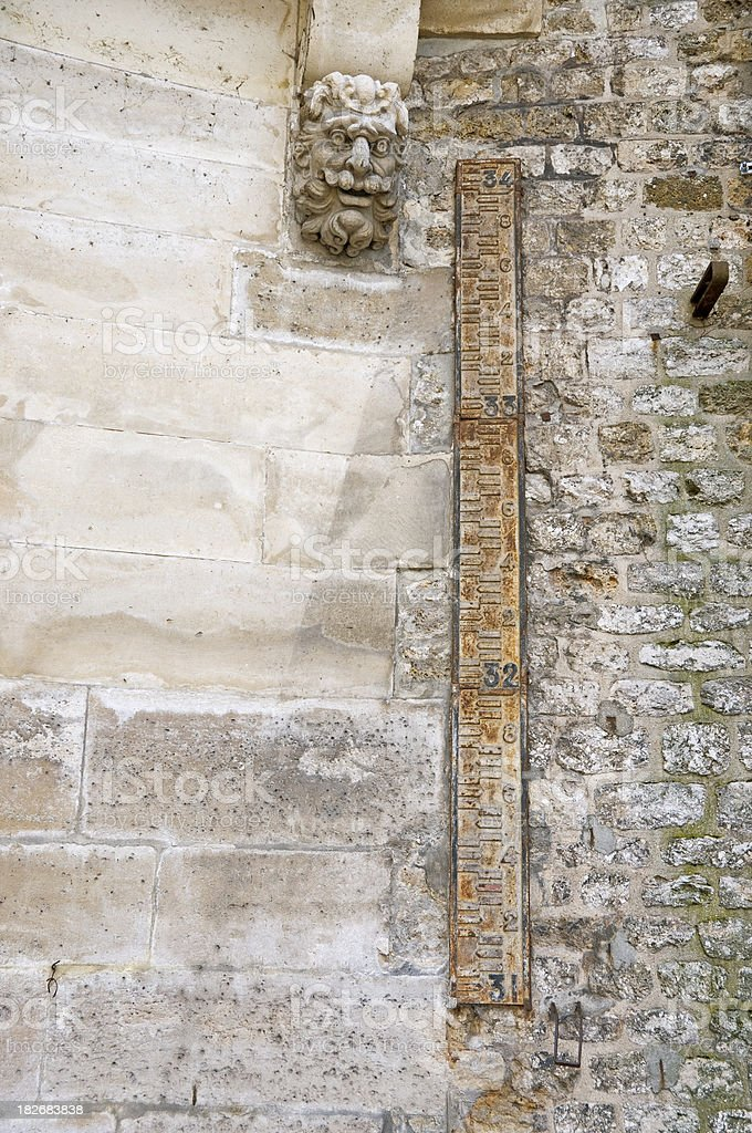 River depth measure and stone carving stock photo