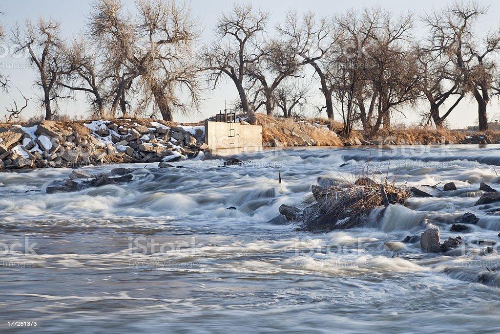 river diversion dam in Colorado stock photo