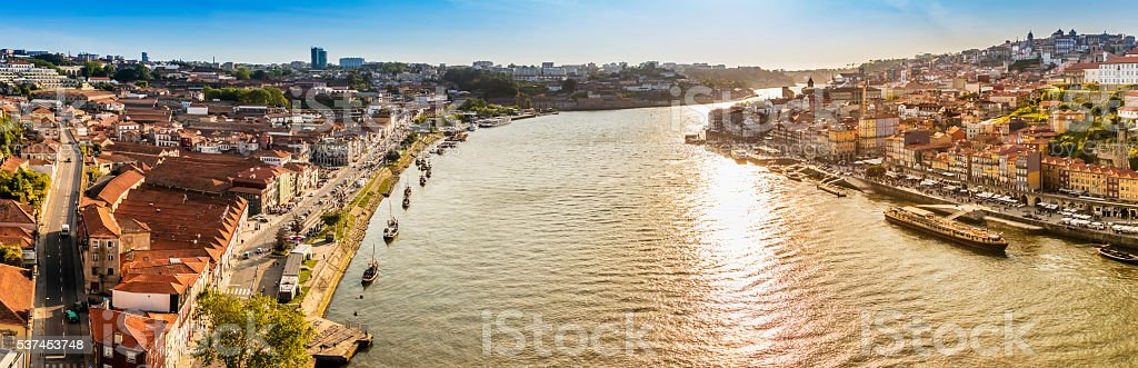 River Douro sunset panorama in Porto, Portugal stock photo
