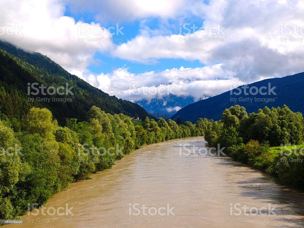 River Drava floating near Spittal, after rain stock photo