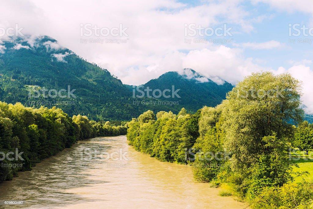 River Drava floating near Spittal, Austria stock photo