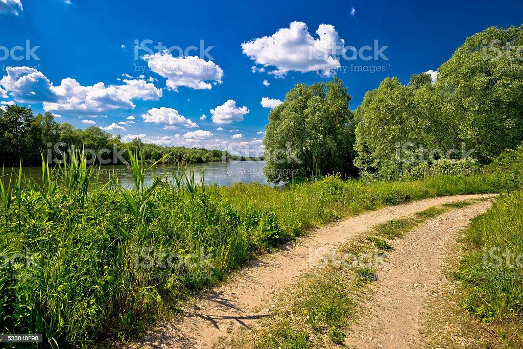 River Drava landscape and path stock photo