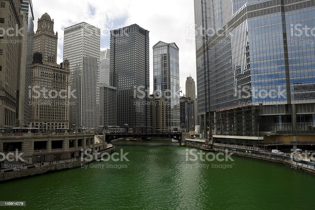 River dyeing in Chicago for St Patrick's Day stock photo