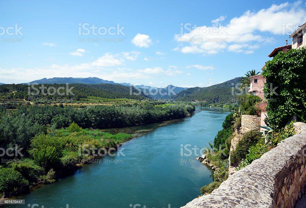 River Ebro from Miravet stock photo