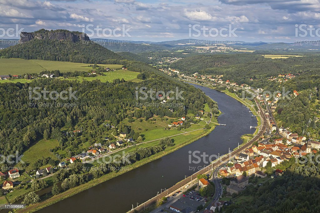 River Elbe in Saxon Switzerland stock photo