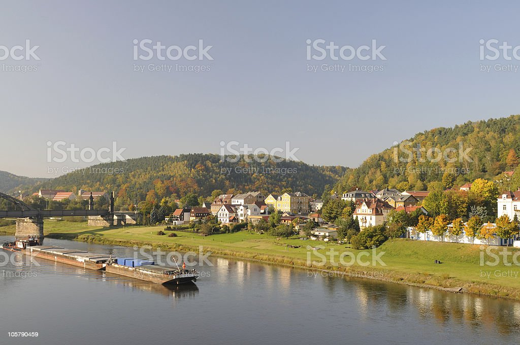 River Elbe Shipping Fall in Bad Schandau stock photo