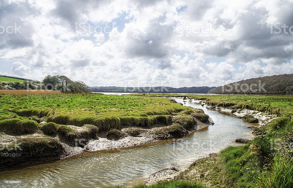 River Fal Near Ruan Lanihorne Cornwall UK stock photo