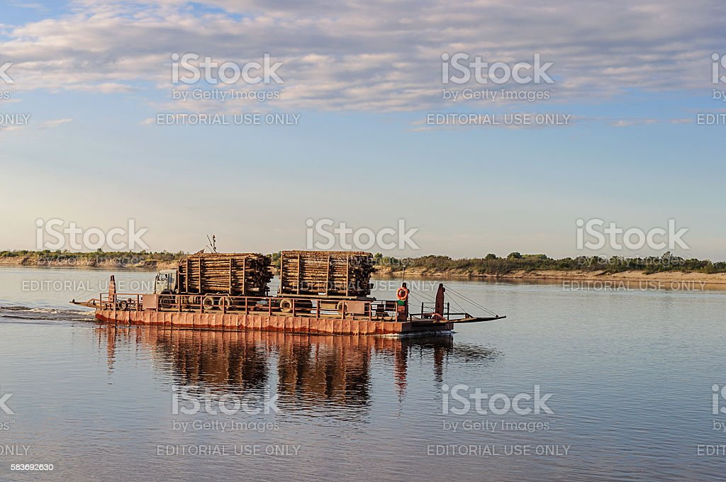 River ferry on the Northern Dvina at sunset stock photo