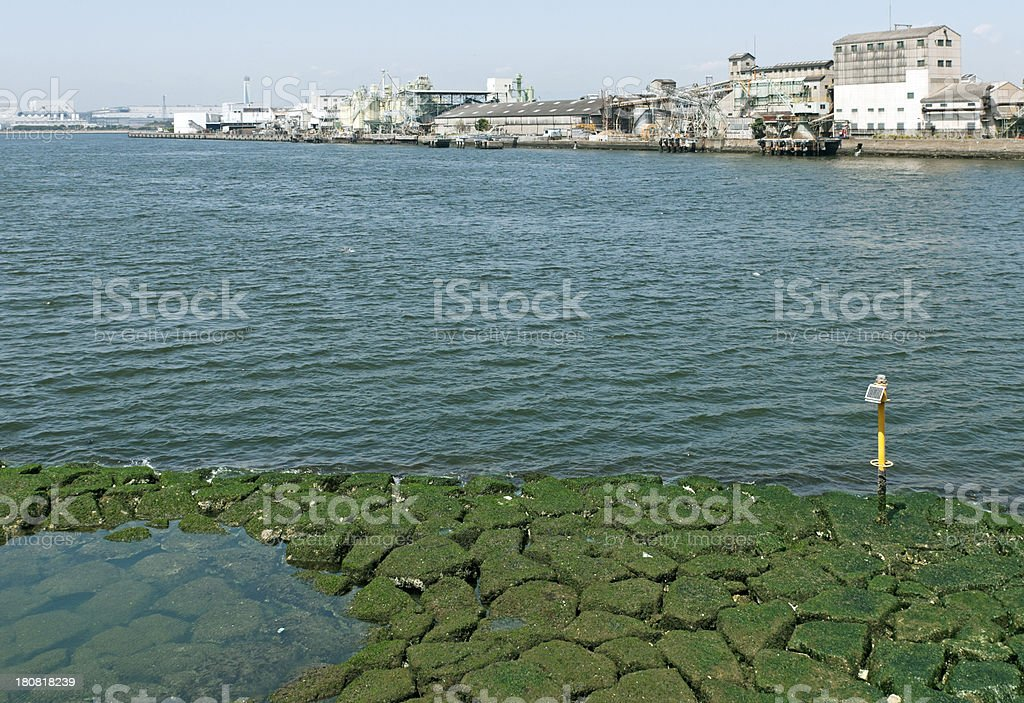 River flowing into industrial section of Osaka Bay royalty-free stock photo
