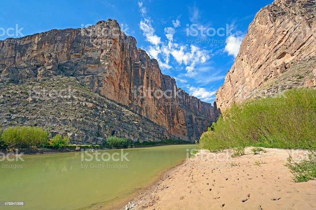 River Flowing Through a Desert Canyon stock photo
