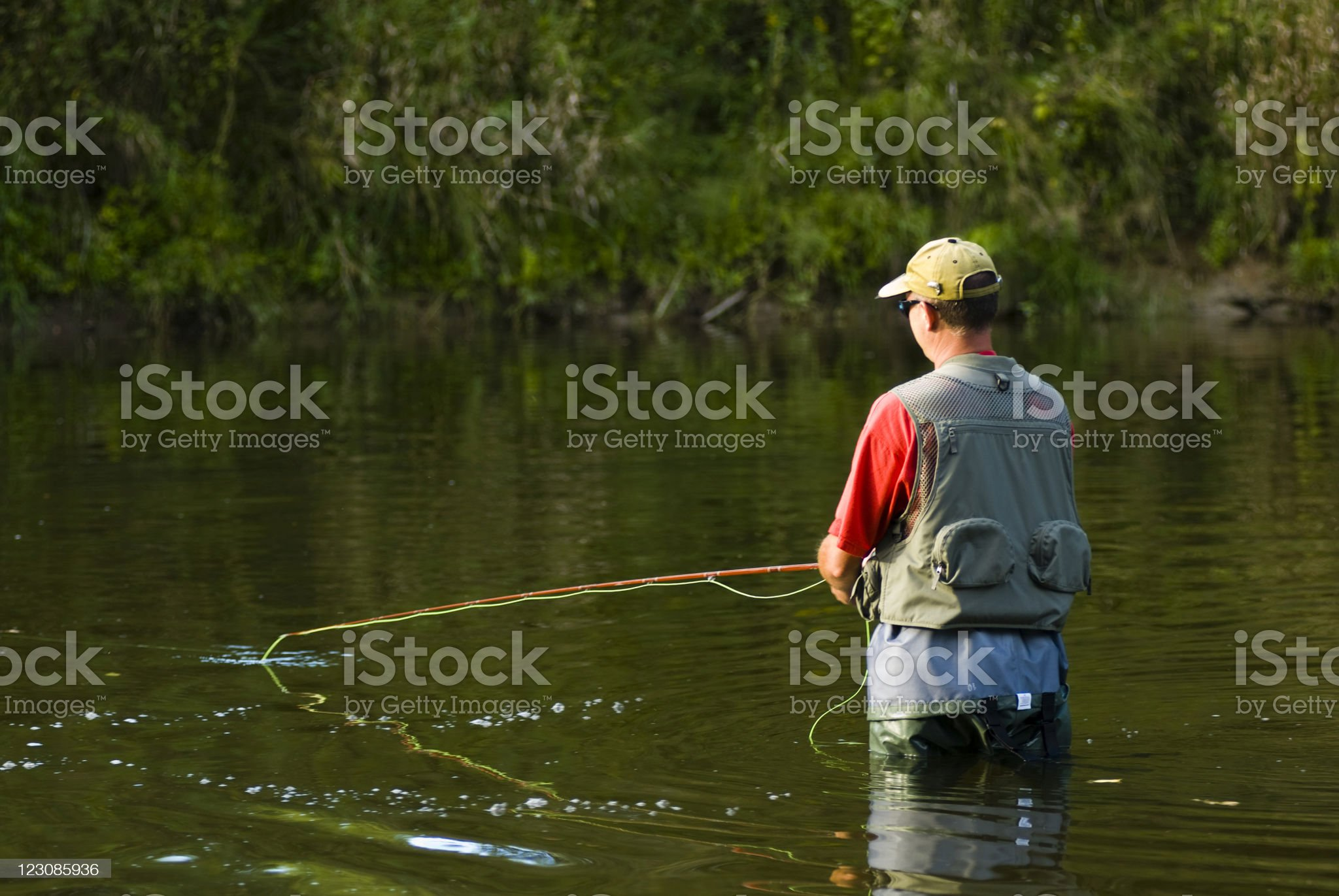 River Fly Fishing royalty-free stock photo