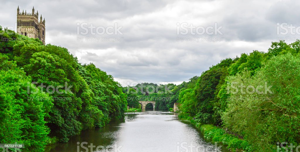 River, Forest, Cathedral and Overcast Sky in Durham, England stock photo