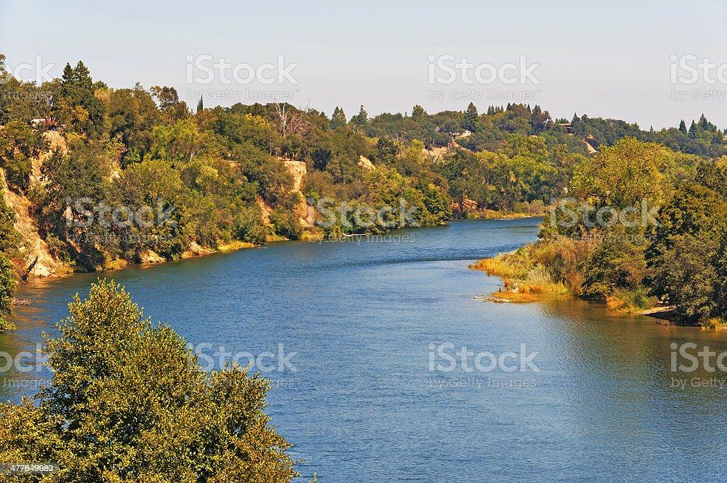 River from Bridge Fair Oaks California stock photo