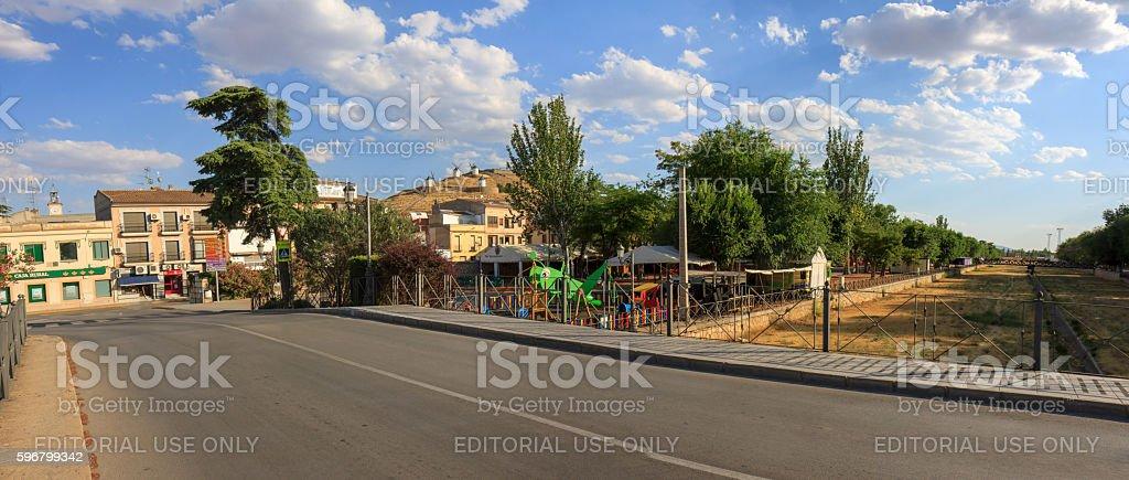 River front of Consuegra in La Mancha stock photo