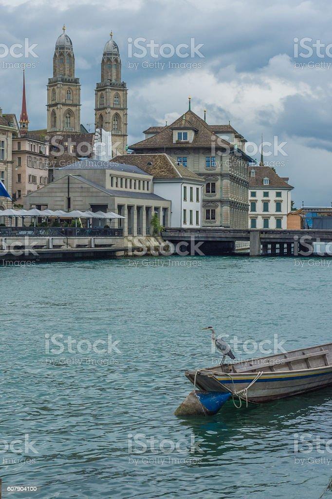 River front scene, Zurich, Switzerland stock photo