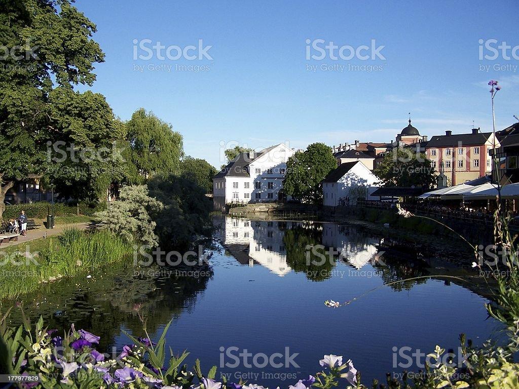 River Fyris in Uppsala stock photo
