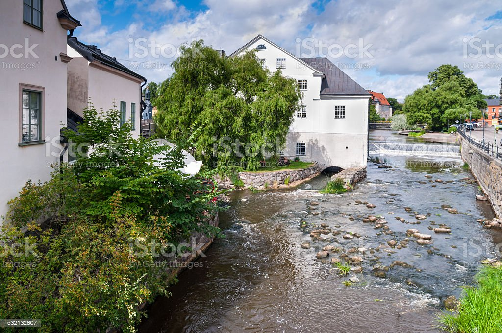 River Fyris in Uppsala stock photo
