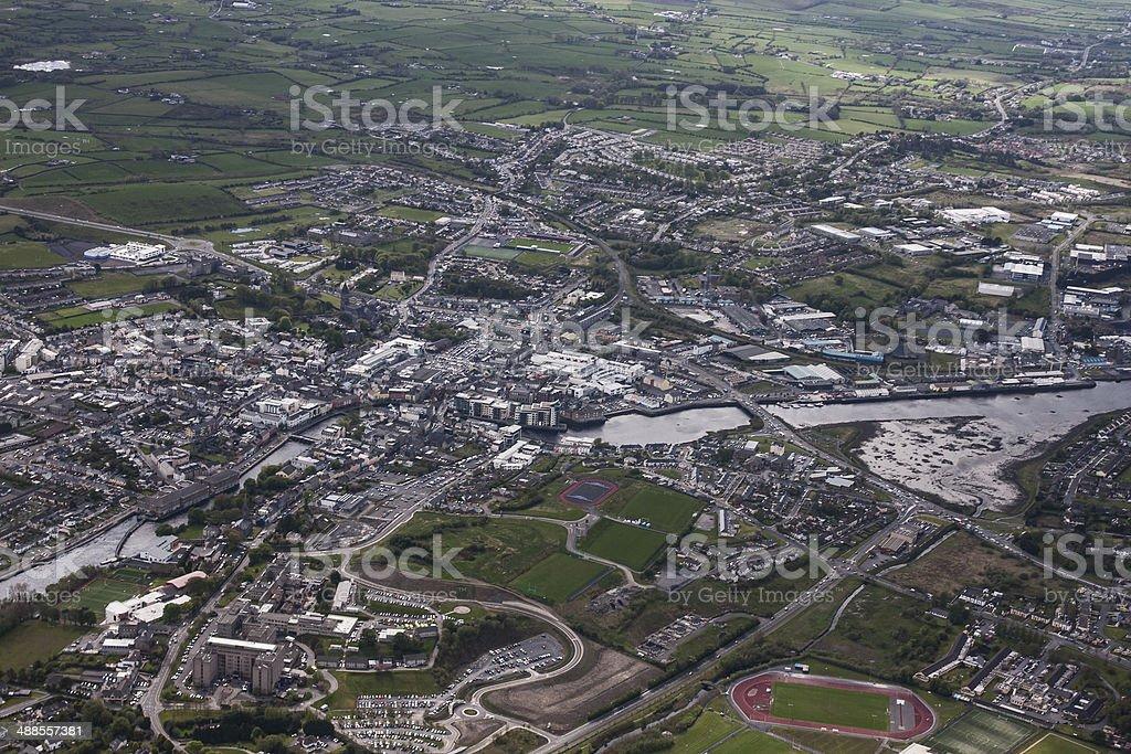 River Garvogue Sligo Town from the air stock photo
