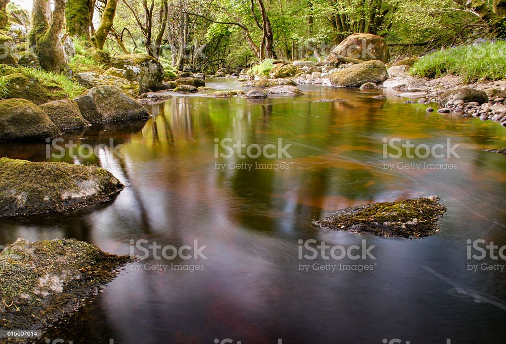 River glencree slowly flowing displaying beautiful reflections in the water stock photo