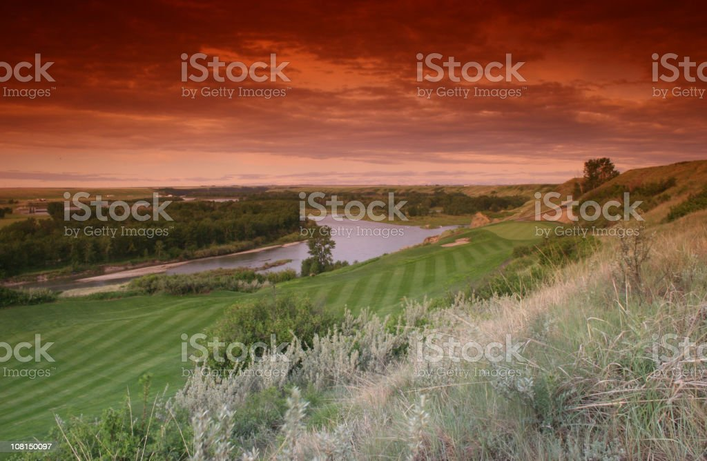 River Golf Hole stock photo