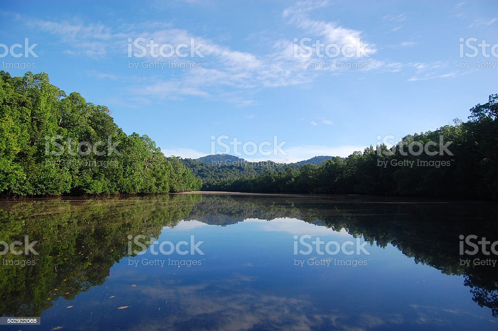 River hills reflection stock photo